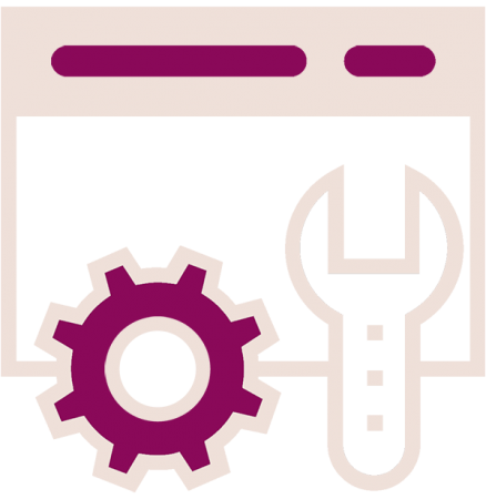 gear, wrench and screen icon