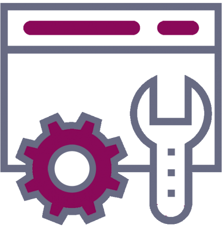wrench, gear and screen icon
