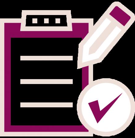pencil, clipboard and checkmark icon