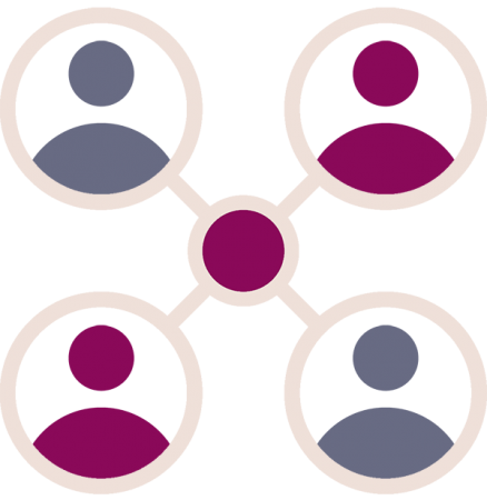 4 people connected icon