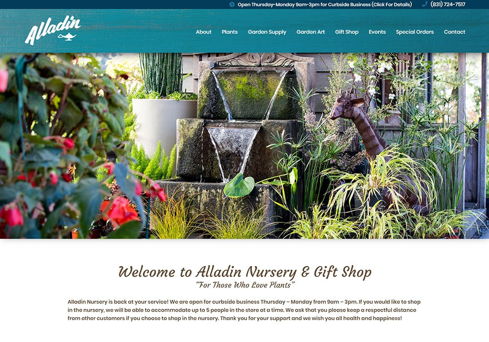 Alladin Nursery homepage