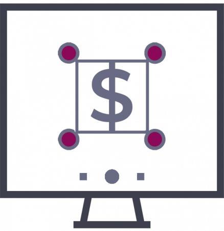 icon of dollar sign on a monitor